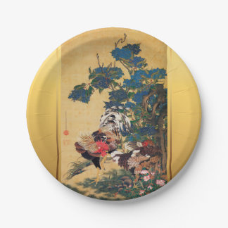 Chinese Rooster New Year 2017 Japanese Art Paper P 7 Inch Paper Plate