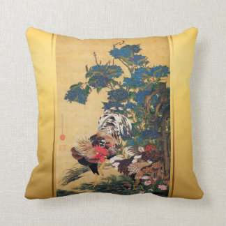 Chinese Rooster New Year 2017 Japanese Art Pillow1 Throw Pillow