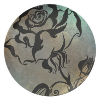 Chinese Rose Melamine Plate