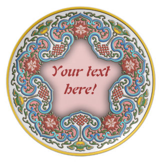 Chinese round pattern good fortune dinner plate