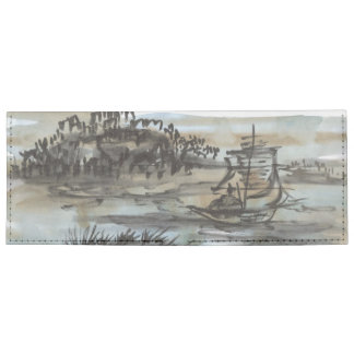 Chinese Sailboat Ink Art Wallet