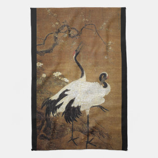 Chinese Scroll Art Crane Bird Floral Kitchen Towel