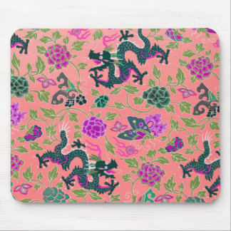 Chinese Serpent Dragon Antique Pink Rose Floral Mouse Pad