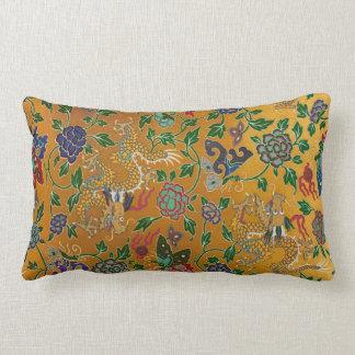 Chinese Serpent Dragon Gold Flower Pattern Vintage Lumbar Pillow
