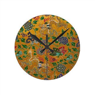 Chinese Serpent Dragon Gold Flower Pattern Vintage Round Clock
