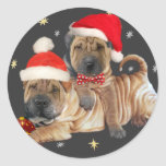 Chinese Shar-pei A Merry Christmas gifts Classic Round Sticker