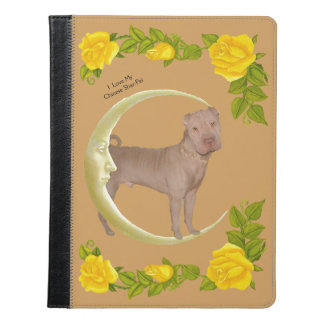 Chinese Shar-Pei and gold moon with Yellow Roses iPad Case