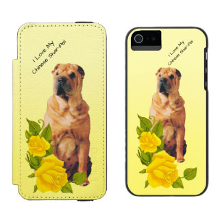 Chinese Shar-Pei and Yellow Roses iPhone SE/5/5s Wallet Case