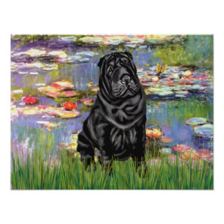 Chinese Shar Pei (black) - Lilies 2 Poster