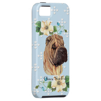Chinese Shar-Pei, Blue w/White Diamonds iPhone SE/5/5s Case