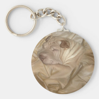 Chinese Shar Pei Camouflaged in Wrinkles Basic Round Button Keychain