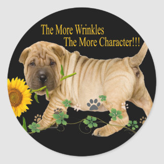 Chinese Shar-Pei Character Gifts Round Sticker