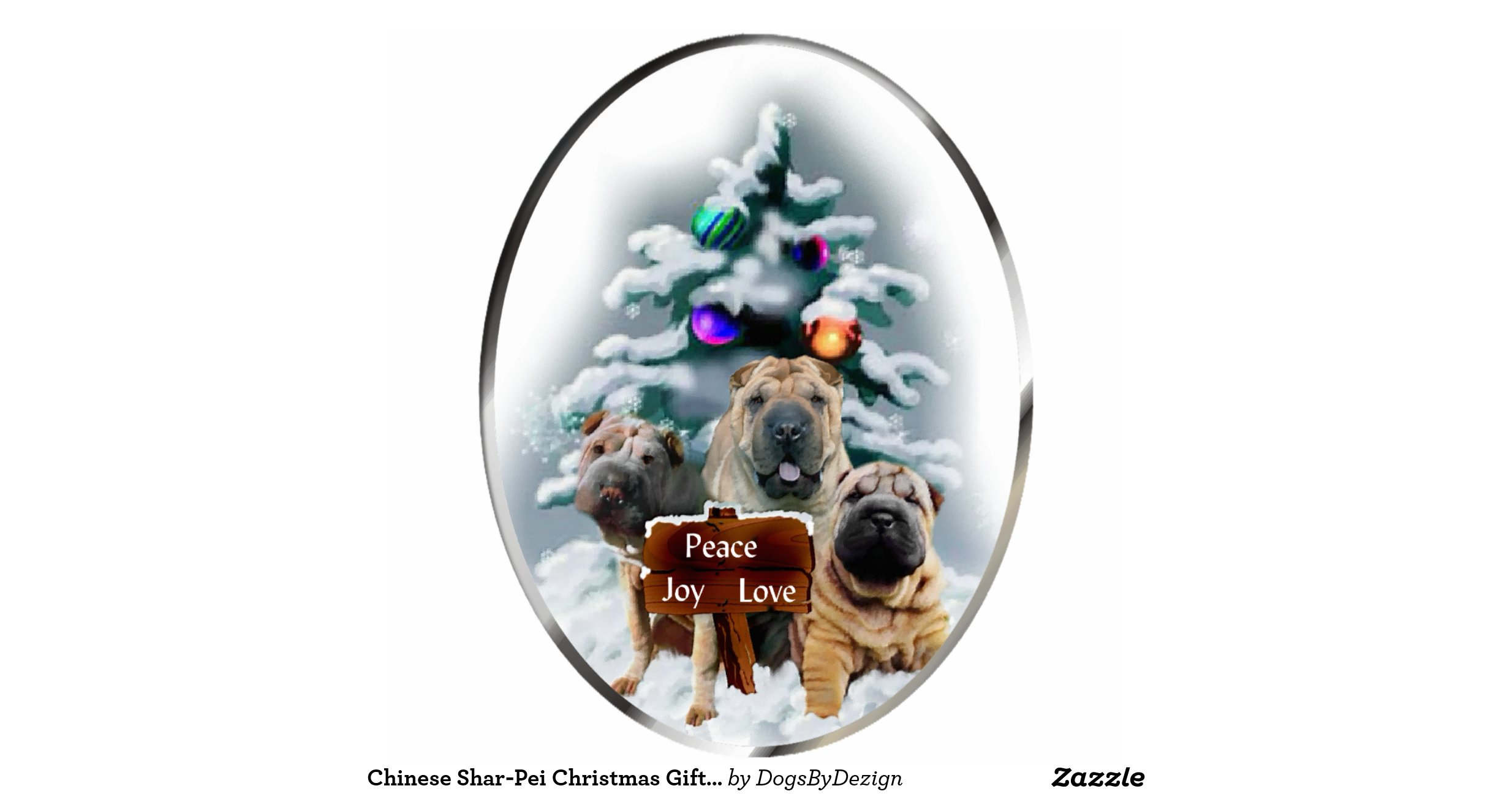 Chinese Shar Pei Christmas Gifts Ornament Photo Cut Out
