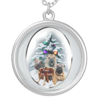 Chinese Shar-Pei Christmas Gifts Silver Plated Necklace