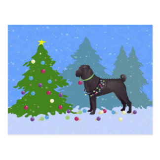 Chinese Shar-Pei Decorating Christmas Tree -forest Postcard