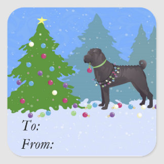 Chinese Shar-Pei Decorating Christmas Tree -forest Square Sticker