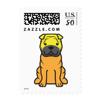 Chinese Shar-Pei Dog Cartoon Postage