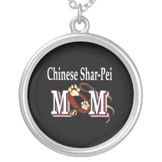 Chinese Shar-Pei Dog Mom Silver Plated Necklace