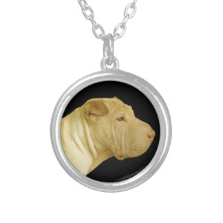 Chinese Shar-Pei Dog Profile Silver Plated Necklace