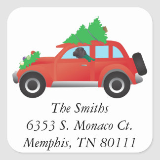 Chinese Shar-Pei Driving a Christmas Car Square Sticker