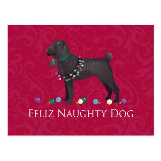 Chinese Shar Pei Feliz Naughty Dog Christmas Desgn Postcard