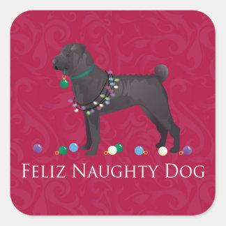 Chinese Shar Pei Feliz Naughty Dog Christmas Desgn Square Sticker