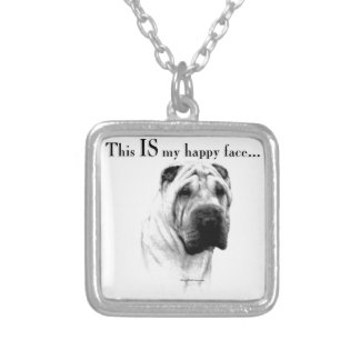 Chinese Shar Pei Happy Face Silver Plated Necklace
