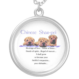 Chinese Shar-Pei Heritage Of Love Silver Plated Necklace