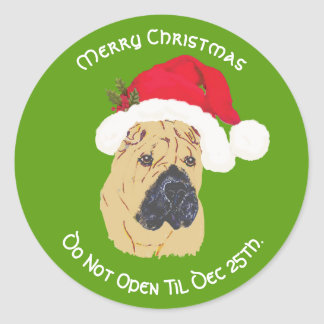 Chinese Shar-Pei Merry Christmas, Do Not Open til Classic Round Sticker