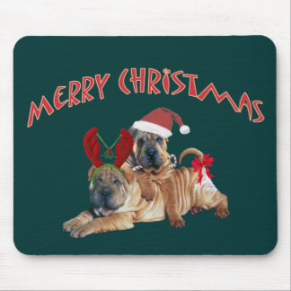Chinese Shar-pei Merry Christmas Gifts Mouse Pad
