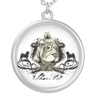 Chinese Shar Pei Projekt Dog illustration Round Pendant Necklace