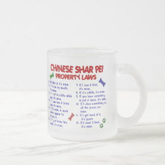 CHINESE SHAR PEI Property Laws 2 10 Oz Frosted Glass Coffee Mug