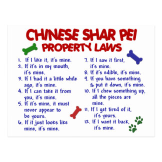 CHINESE SHAR PEI Property Laws 2 Postcard