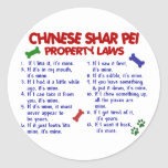 CHINESE SHAR PEI Property Laws 2 Round Sticker