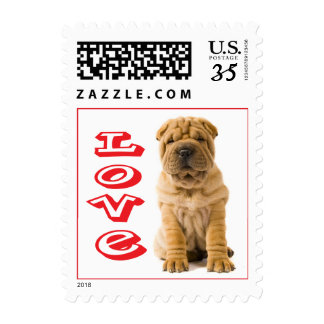 Chinese Shar Pei Puppy Dog Postage Stamps