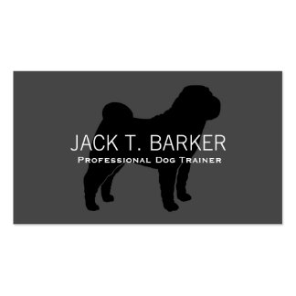 Chinese Shar-Pei Silhouette Black on Grey Business Card Templates