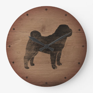 Chinese Shar Pei Silhouette Rustic Large Clock
