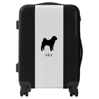 Chinese Shar-Pei Silhouette with Custom Text Luggage