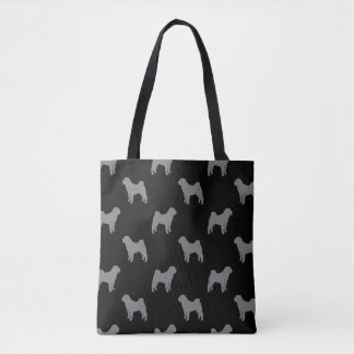 Chinese Shar Pei Silhouettes Pattern Tote Bag