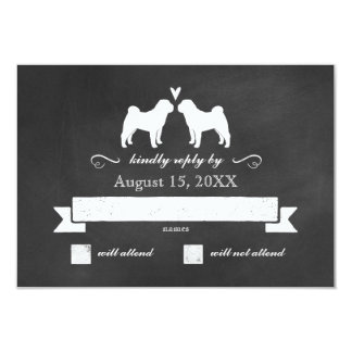 Chinese Shar-Pei Silhouettes Wedding Reply Card