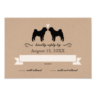 Chinese Shar-Pei Silhouettes Wedding RSVP Reply Card