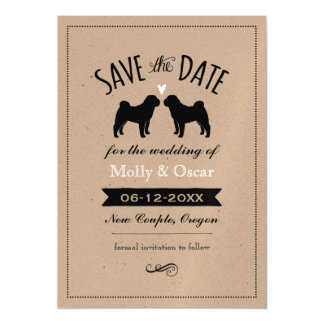Chinese Shar-Pei Silhouettes Wedding Save the Date Magnetic Card