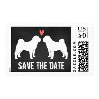 Chinese Shar-Pei Silhouettes Wedding Save the Date Postage