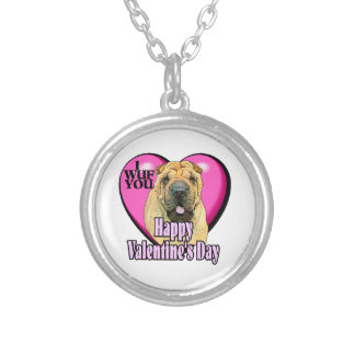 Chinese Shar-Pei Valentines Day Silver Plated Necklace