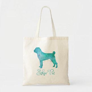 Chinese Shar Pei Watercolor Design Tote Bag