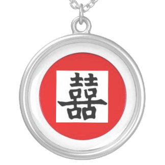 Chinese sign dubbelgeluk silver plated necklace