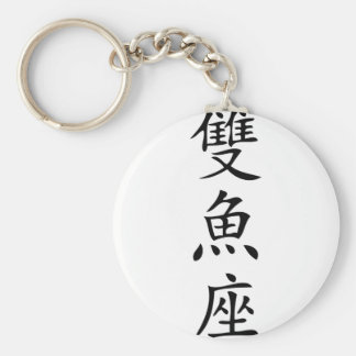chinese sign  fish icon basic round button keychain