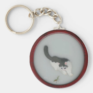Chinese Silk Cat Picture Basic Round Button Keychain
