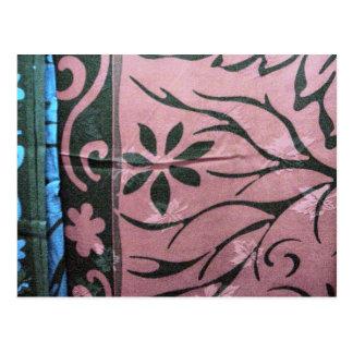 Chinese silk printed design postcard