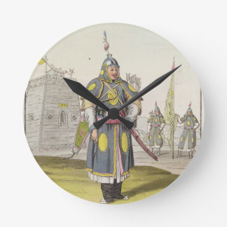 Chinese soldier in full battle dress, illustration wall clocks